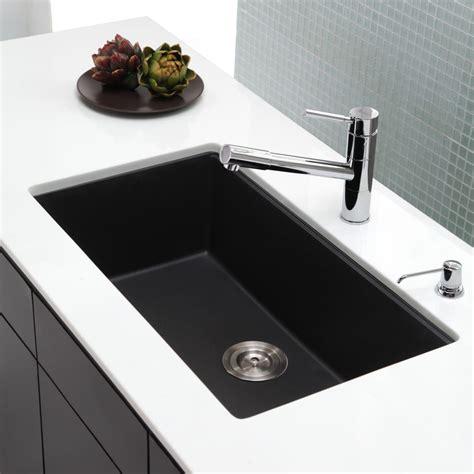 Kitchen Sink Specifications Kraus Kgu413b 31 Inch Undermount Single Bowl Granite Kitchen Sink With 8 2 3 Inch Bowl Depth