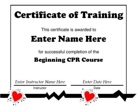Award Certificate Templates Certificate Of Training Featuring Medical Graphics Created For Free Cpr Card Template