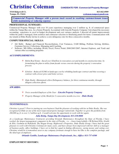 commercial property manager resume resume cac1