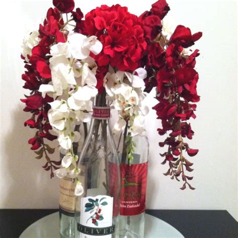 wine bottle and flower centerpiece wine bottle