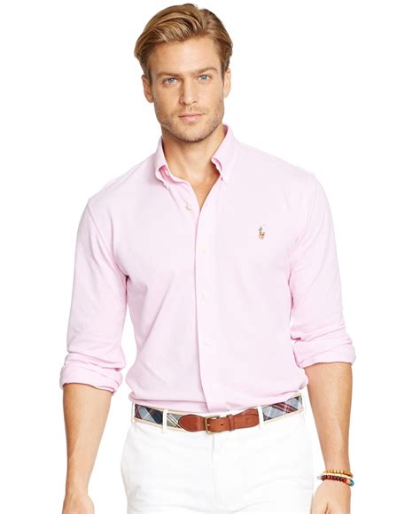 Jaket Parasut Sport Polos Pink polo ralph oxford piqu 233 sport shirt in pink for lyst