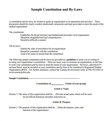 Sle Bylaws Template 8 Free Documents In Pdf Basic Bylaws Template