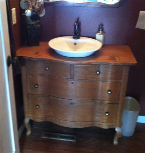 the dresser that my husband made into our half bath - 58 Badezimmer Eitelkeit