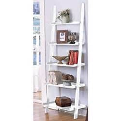 amazon com white 5 tier leaning ladder book shelf by ehomeproducts kitchen amp dining