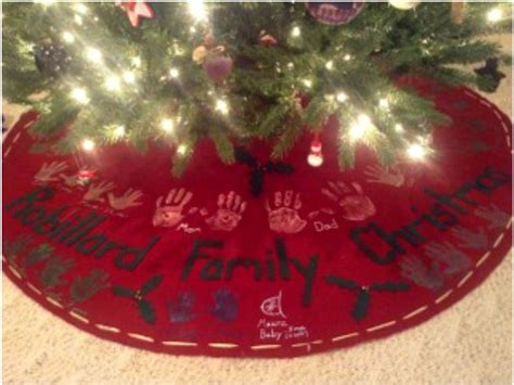 how to make a no sew handprint christmas tree skirt one