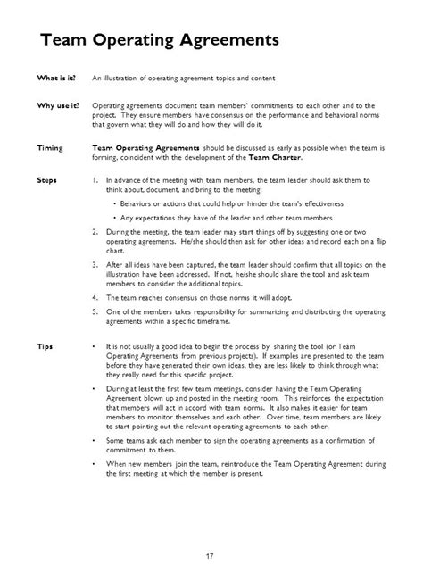 team agreement template team operating agreement template 28 images team