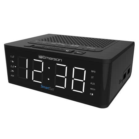 emerson smartset alarm clock radio with bluetooth speaker charging station er100102 walmart