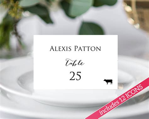 template meal place card place cards with meal option 183 wedding templates and