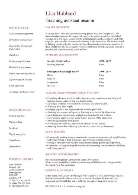 Assistant Resume No Experience Teaching Assistant Cv Sle Cv Exle School Children Pupils