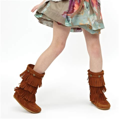 toddler moccasin boots minnetonka childrens 3 layer fringe boots moccasins