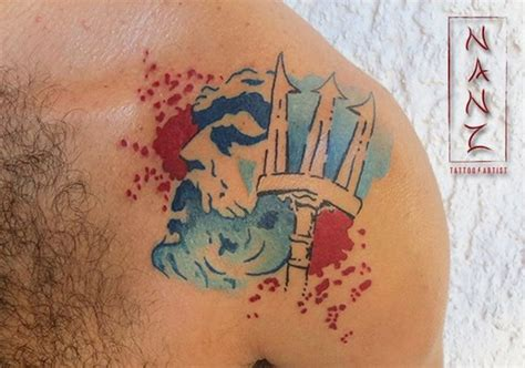 watercolor tattoos bay area watercolor poseidon with trident on shoulder area