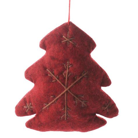 primitive red felt christmas tree ornament sales
