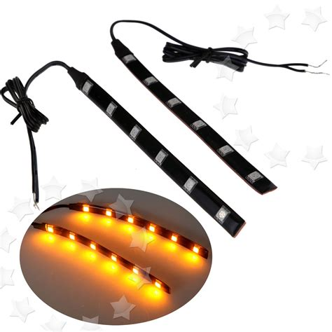 led light strips for motorcycles 2x flexible 6 led strip light tail turn signal indicator