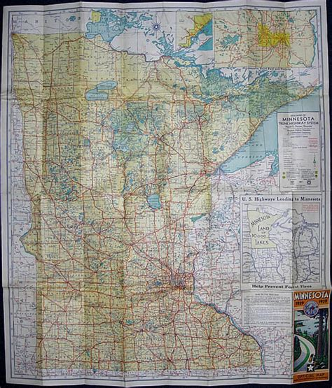Route Drawer Map by 1939 Map Of Minnesota Trunk Highway System