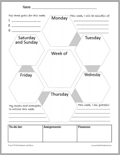 Room Planner Google mindful blank weekly planner for students