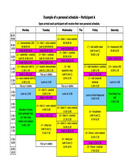 9 Personal Schedule Templates Sle Exles Free Premium Templates Personal Schedule Template