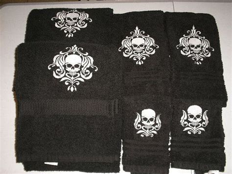 Skull Bathroom Set Set Of Damask Skull Bath Towels Gift By Heritageembroidery Skulls Pinterest My