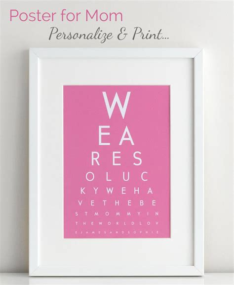 best gift for a mom diy eye chart personalized mothers day gift