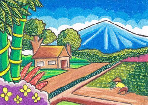 menggambar pemandangan gunung  pantai