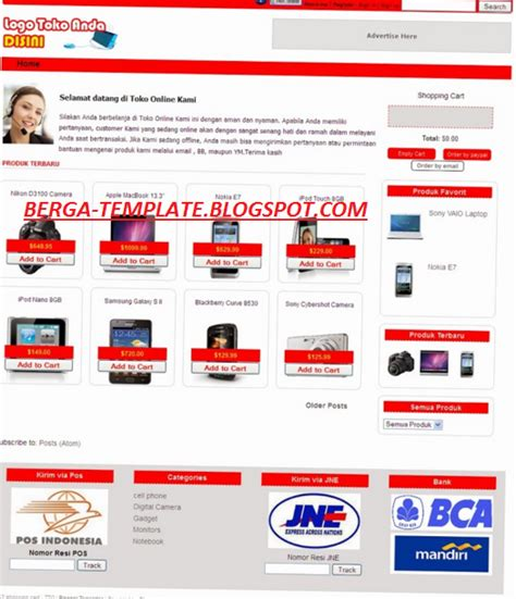 template blog toko online indonesia kumpulan download source code web toko online siap pakai