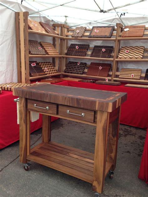 Custom Butcher Block Kitchen Cart, Cutting Board, Wood