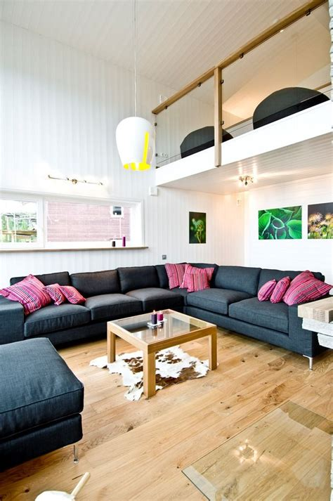 small house with high ceiling light colors open plan