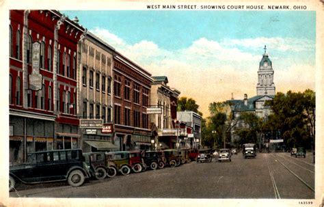 newark court house west main street showing court house newark oh postcard