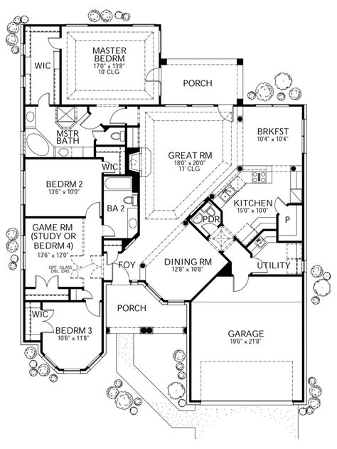 Mediterranean Style House Plan - 4 Beds 2.5 Baths 2058 Sq/Ft Plan #80-143 Floor Plan - Main
