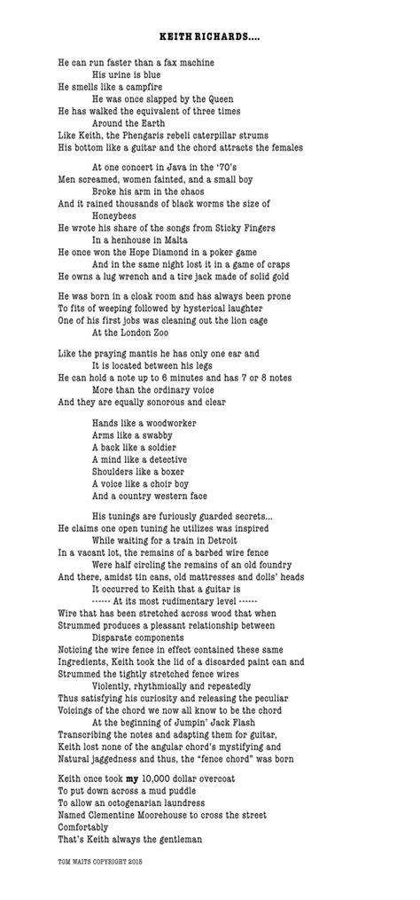 story tom waits original poem  keith richards rolling stone