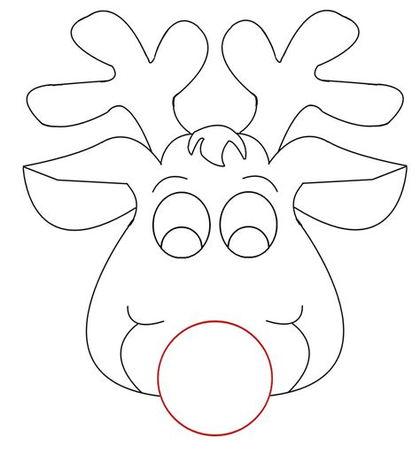 printable reindeer antlers pattern rudolph reindeer face craft for coloring responses on