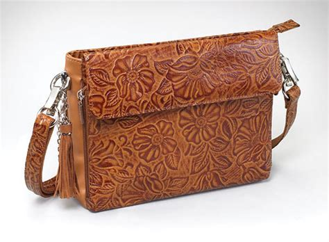 leaf pattern purse concealed carry handbag gun purse ccw tooled rose leaf