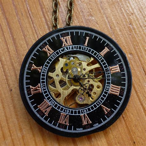 steampunk fantasy victorian pocket watch dial necklace