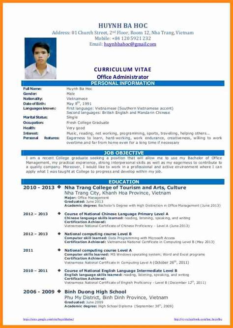 Sous Chef Resume Sample by 9 Curriculum Vitae Sample For Fresh Graduate Model Resumed