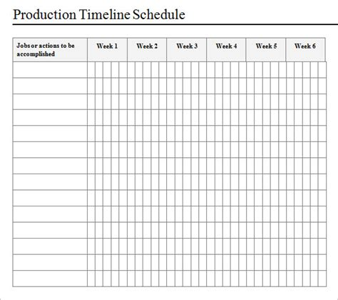 production schedule templates sle production timeline 10 exles format