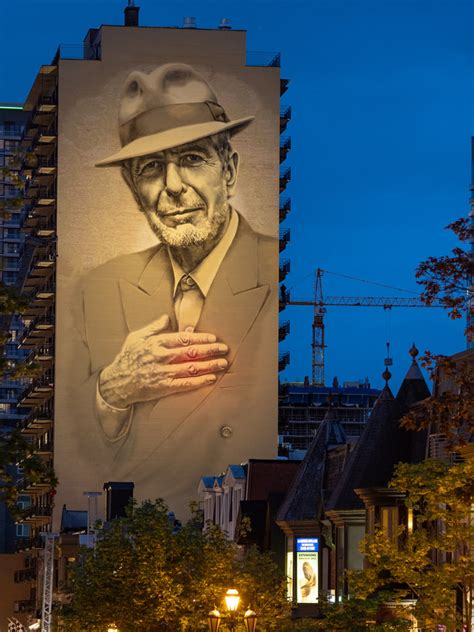 montreals leonard cohen mural lights  sign media
