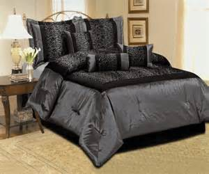Bedding new leopard silver gray black comforter set satin bedding
