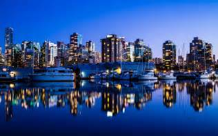 Vancouver canada city night lights buildings sea yacht