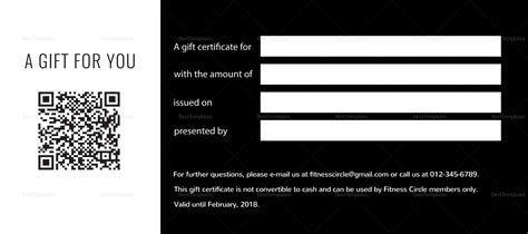 Fitness Gift Card Template by Fitness Gift Certificate Design Template In Psd Word