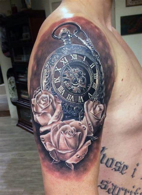 mens rose shoulder tattoo 100 pocket designs for cool timepieces