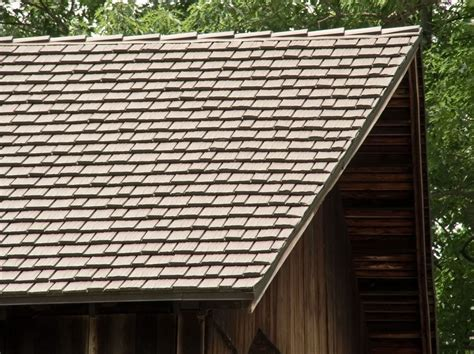 looking up at roof shingles metal roof that looks like wood shingles