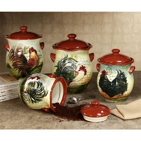 le rooster canister set from touch of class kitchen ideas pinterest folk art jars and