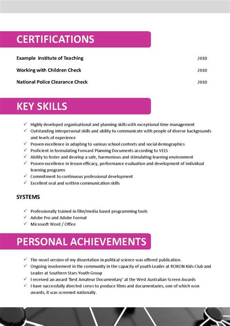 Resume Template In Australia resume templates australian teachers exle of literature