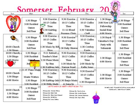 Retirement Calendar Senior Calendar February 2016 Assisted Living Longview
