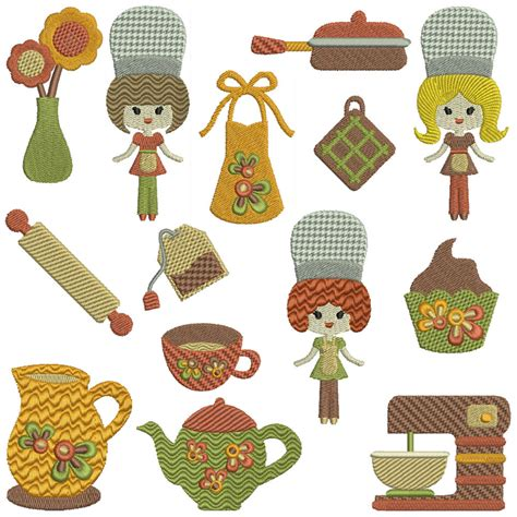 kitchen embroidery designs retro kitchen machine embroidery patterns 14 designs