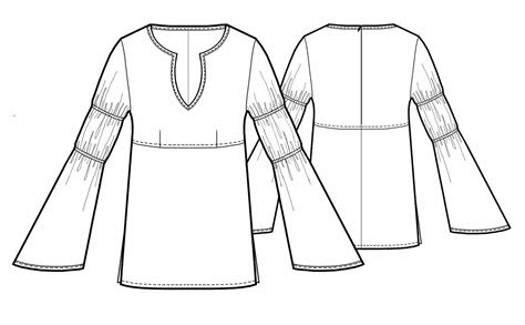 drawing blouse pattern folk style blouse sewing pattern 5436 made to measure