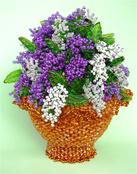 beaded flowers flower basket beaded flowers