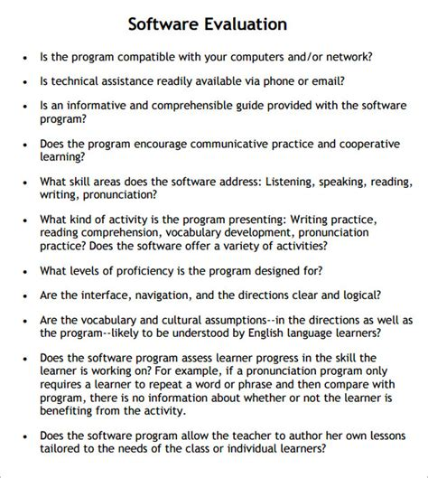 software assessment template 9 software evaluation sles sle templates
