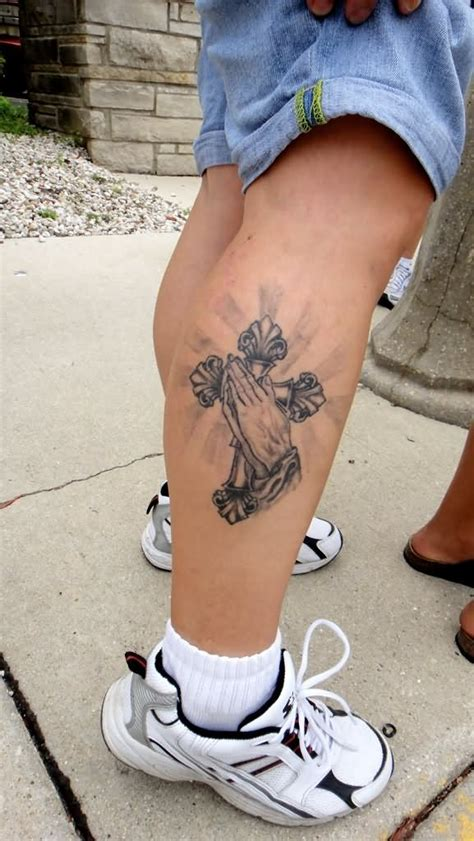 cross leg tattoos 9 cross designs ideas