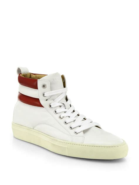 white high top sneakers for bally leather high top sneakers in white for lyst