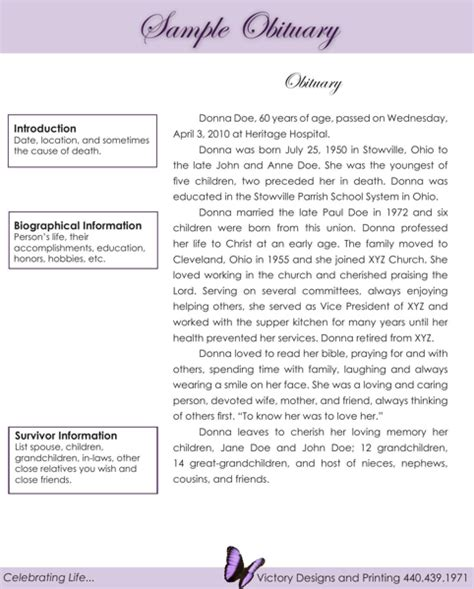 obituary template where to get an obituary template for free